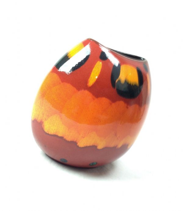 Poole Pottery Vase Large Volcano Pattern Red And Orange